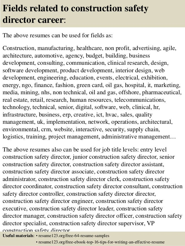 top 8 construction safety director resume samples