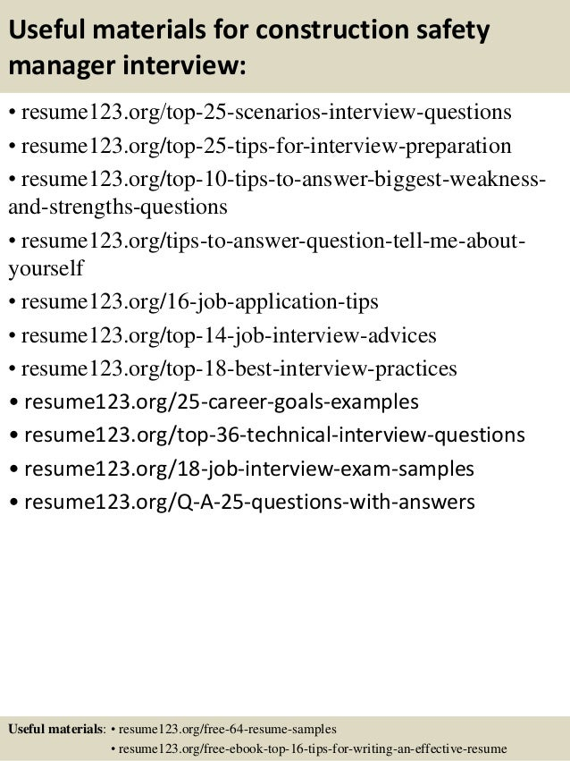 Top 8 construction safety manager resume samples