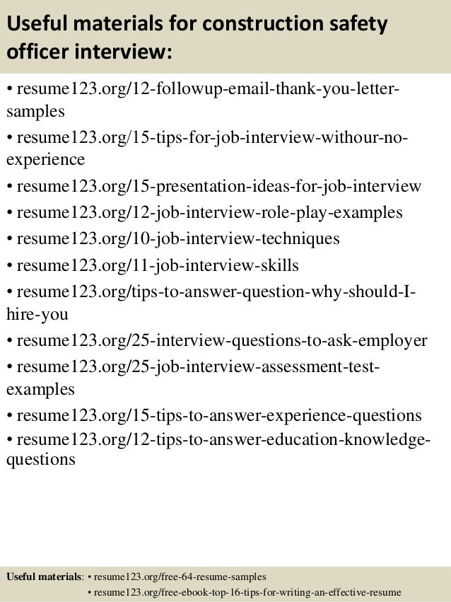 Top  Construction Safety Officer Resume Samples
