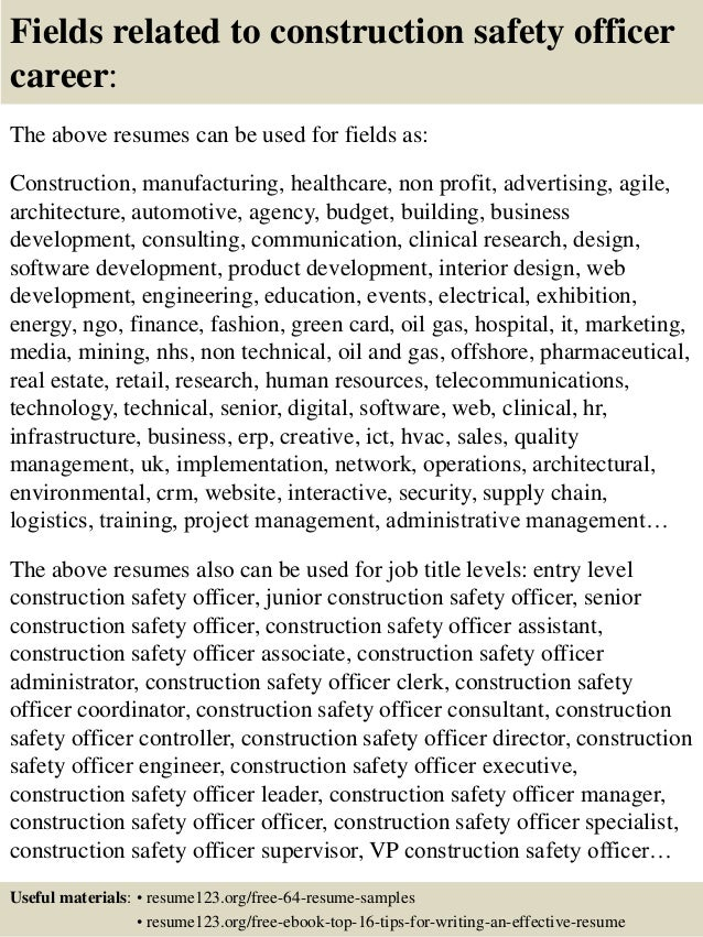 top 8 construction safety officer resume sles