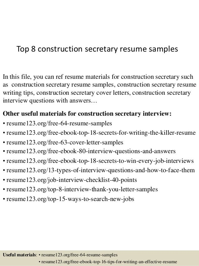 top 8 construction secretary resume samples in this file you can ref resume materials for - Secretary Resume Sample