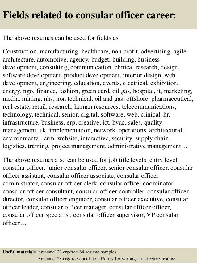 16 fields related to consular officer - Consular Officer Sample Resume