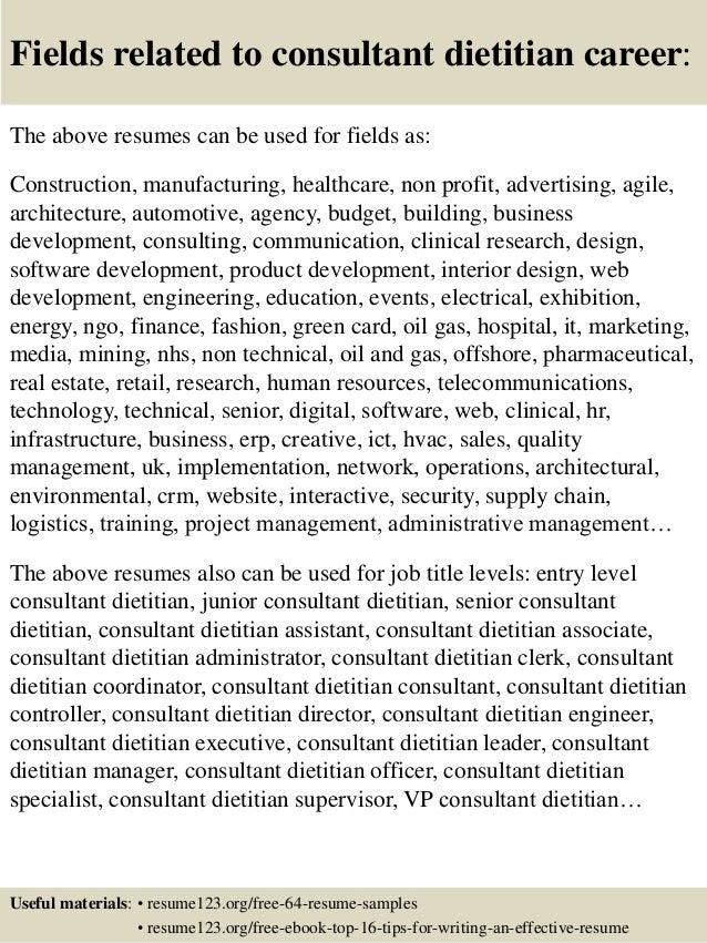 top 8 consultant dietitian resume samples