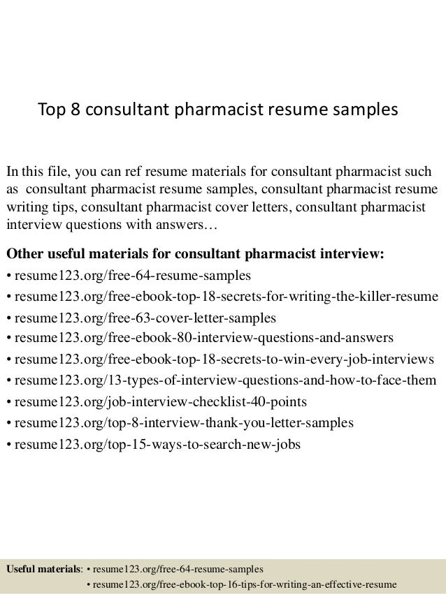 Top 8 Consultant Pharmacist Resume Samples In This File, You Can Ref Resume  Materials For ...