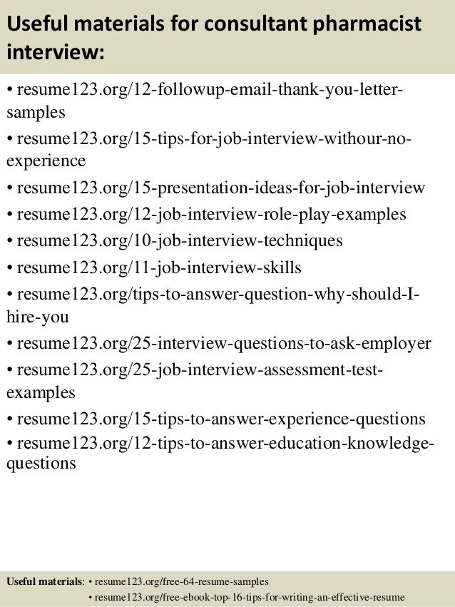 top 8 consultant pharmacist resume samples