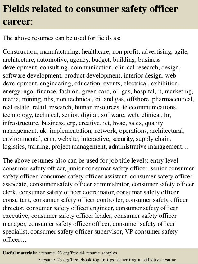... 16. Fields Related To Consumer Safety Officer ...