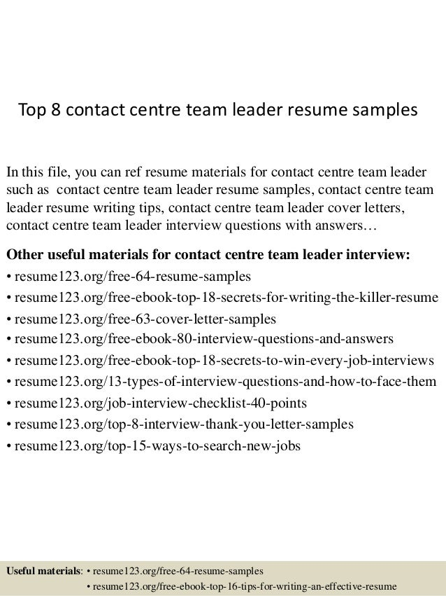 top 8 contact centre team leader resume sles