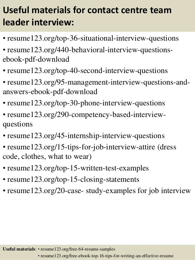 top 8 contact centre team leader resume samples