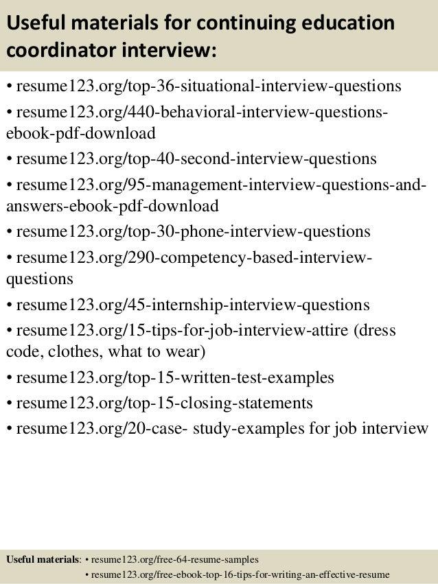 Top 8 continuing education coordinator resume samples
