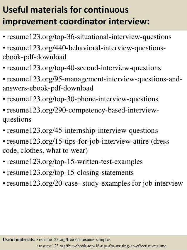 top 8 continuous improvement coordinator resume samples