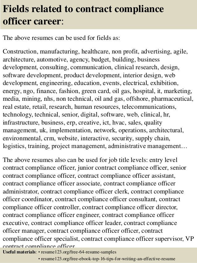 ... 16. Fields Related To Contract Compliance Officer ...  Compliance Officer Resume