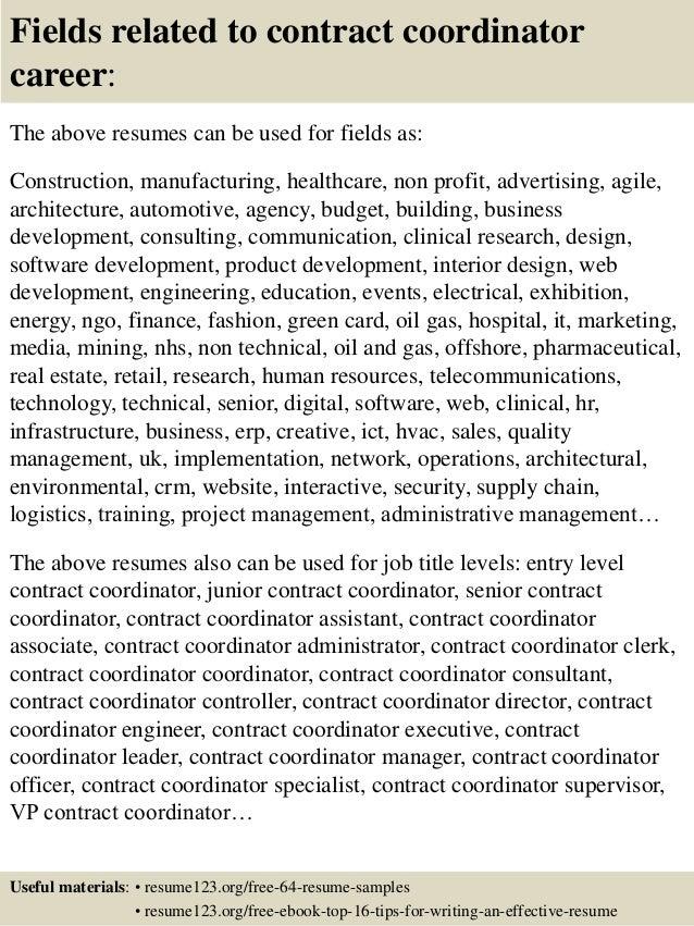 Top 8 contract coordinator resume samples