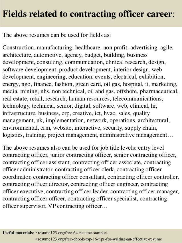 top 8 contracting officer resume samples
