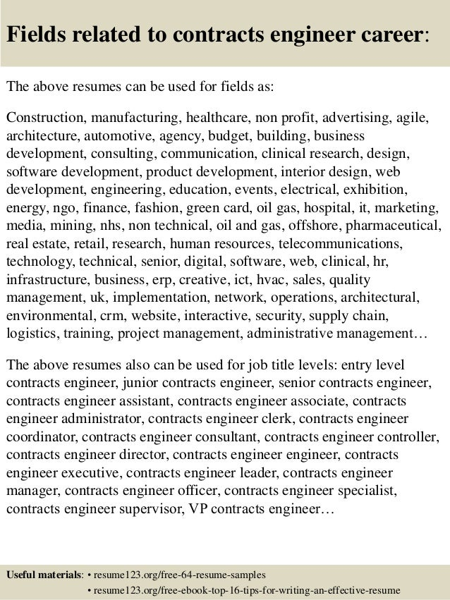 16 fields related to contracts engineer - Contract Engineer Sample Resume