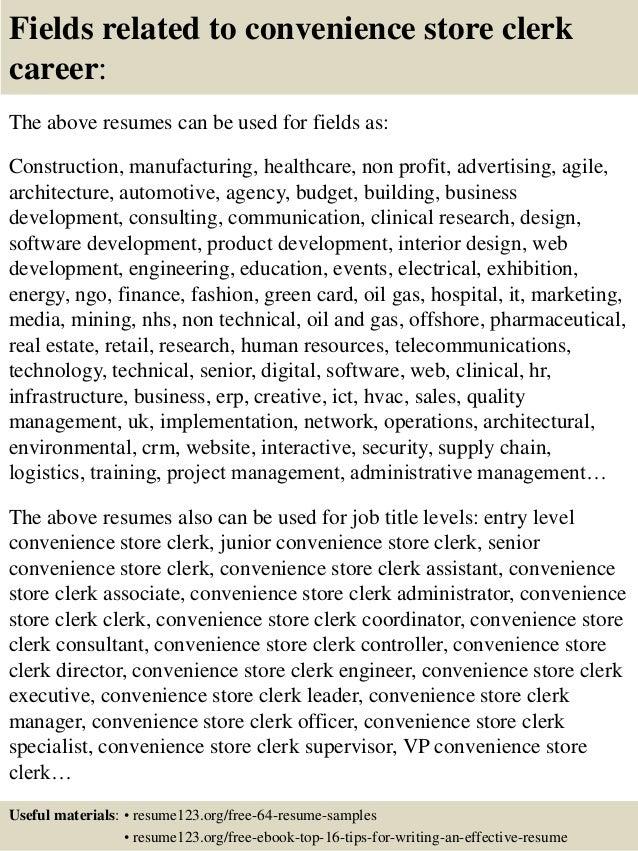 top 8 convenience store clerk resume samples
