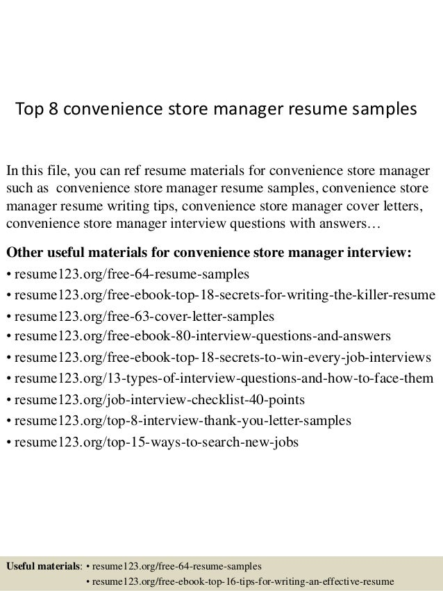 Top 8 Convenience Store Manager Resume Samples In This File You Can Ref Materials