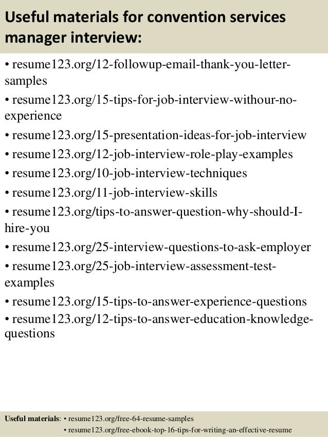 14 useful materials for convention services manager service manager resume examples