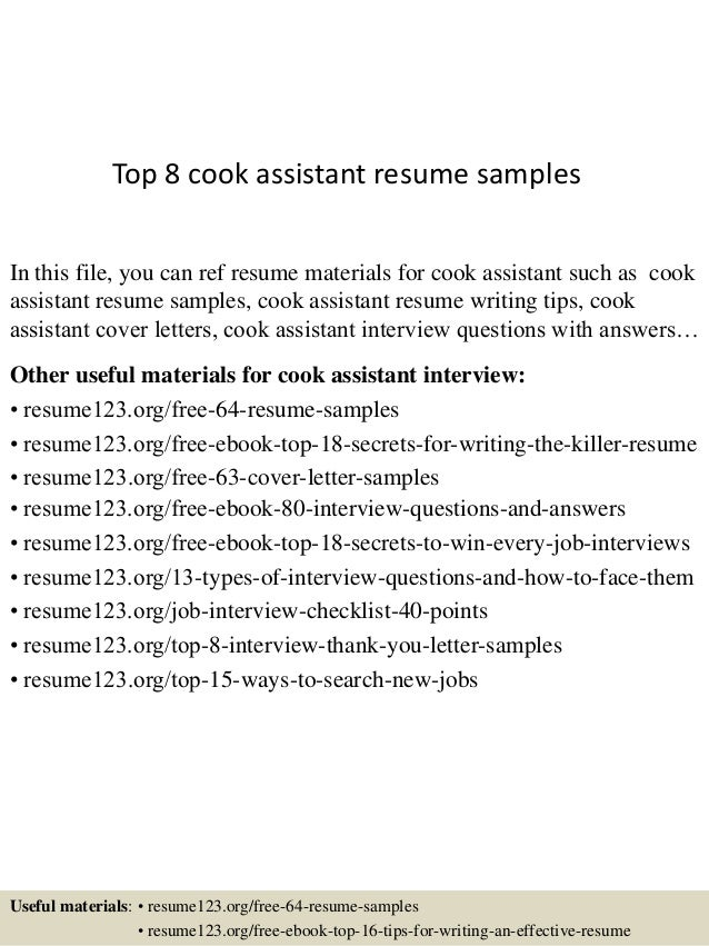 top 8 cook assistant resume samples in this file you can ref resume materials for - Resume Sample For Cook