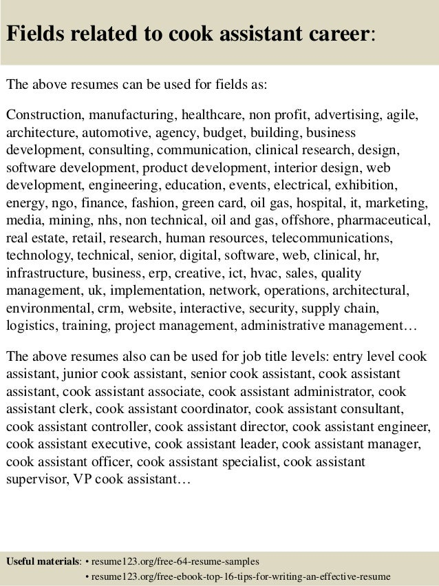 Top 8 cook assistant resume samples