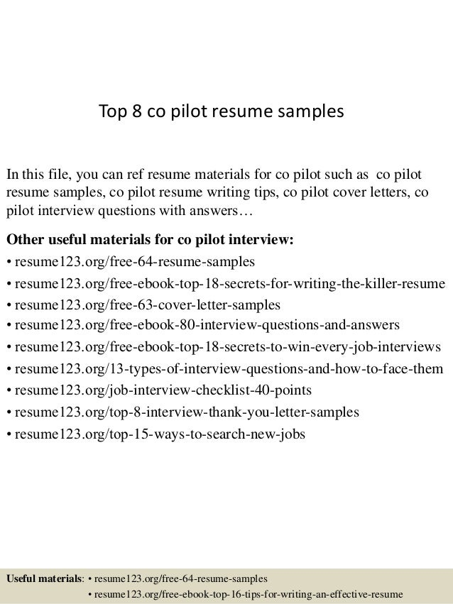 top 8 co pilot resume samples in this file you can ref resume materials for