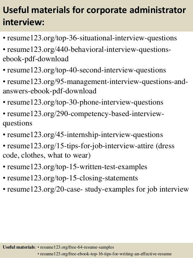 Top 8 Corporate Administrator Resume Samples