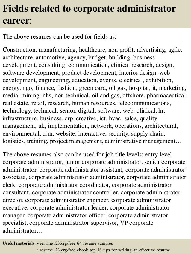 16 fields related to corporate