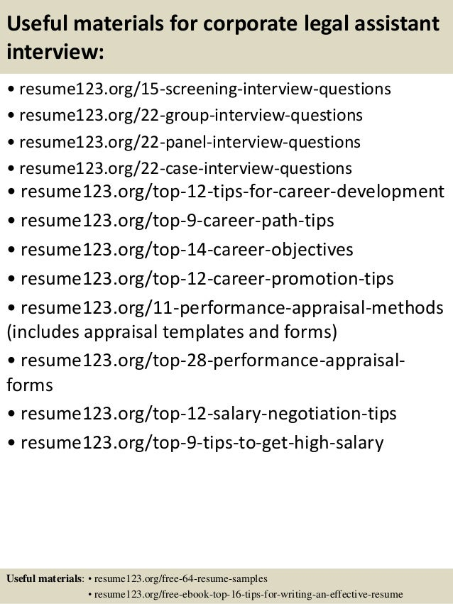 Top 8 corporate legal assistant resume samples