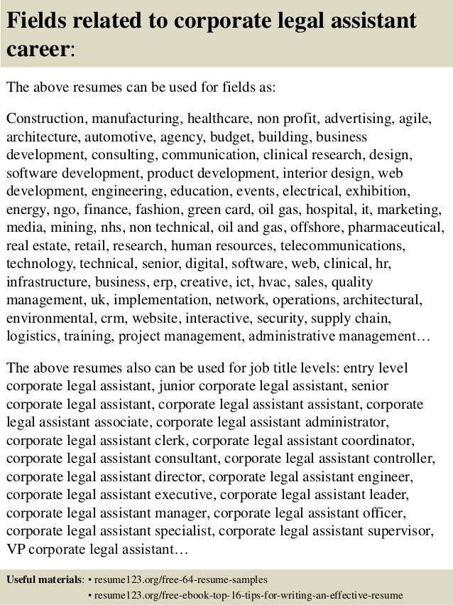 top 8 corporate legal assistant resume samples legal assistant resumes