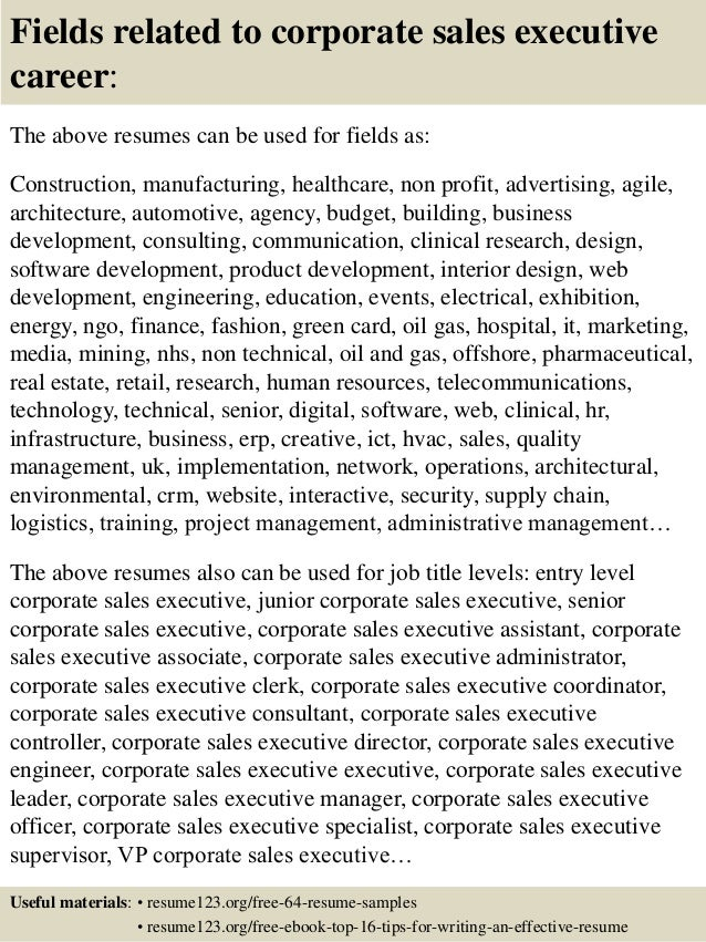 top 8 corporate sales executive resume samples