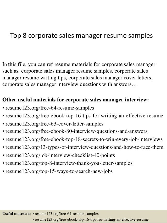 top 8 corporate sales manager resume samples in this file you can ref resume materials - Sample Resumes Sales
