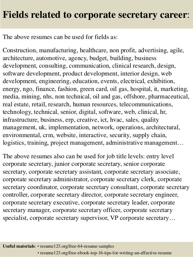... 16. Fields Related To Corporate Secretary Career: The Above Resumes ...