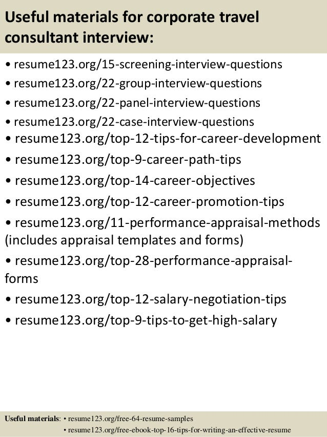 top 8 corporate travel consultant resume samples
