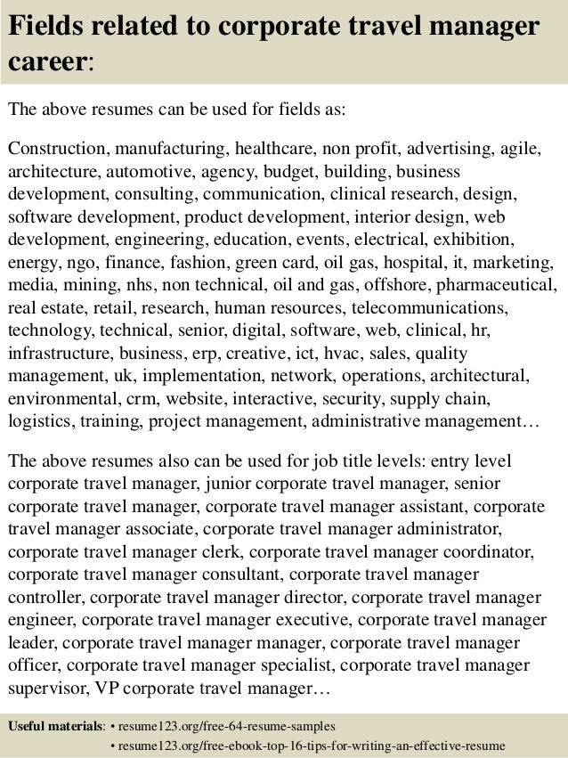 Top  Corporate Travel Manager Resume Samples