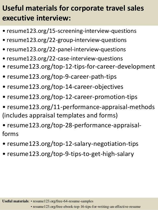 top 8 corporate travel sales executive resume samples
