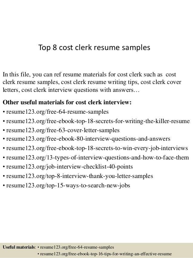 Top 8 Cost Clerk Resume Samples