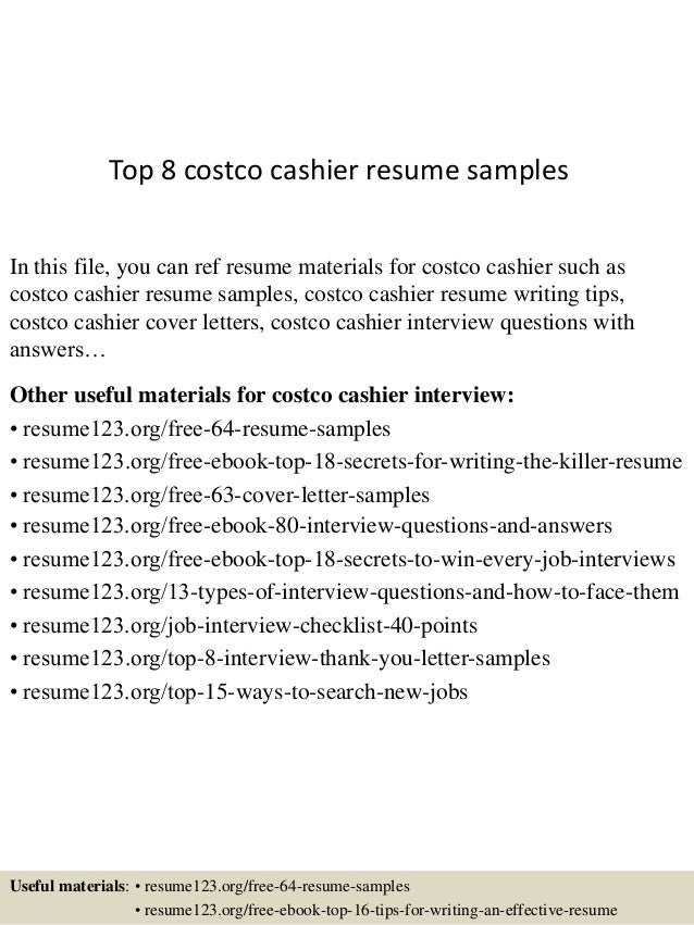 Top 8 Costco Cashier Resume Samples In This File You Can Ref Materials For