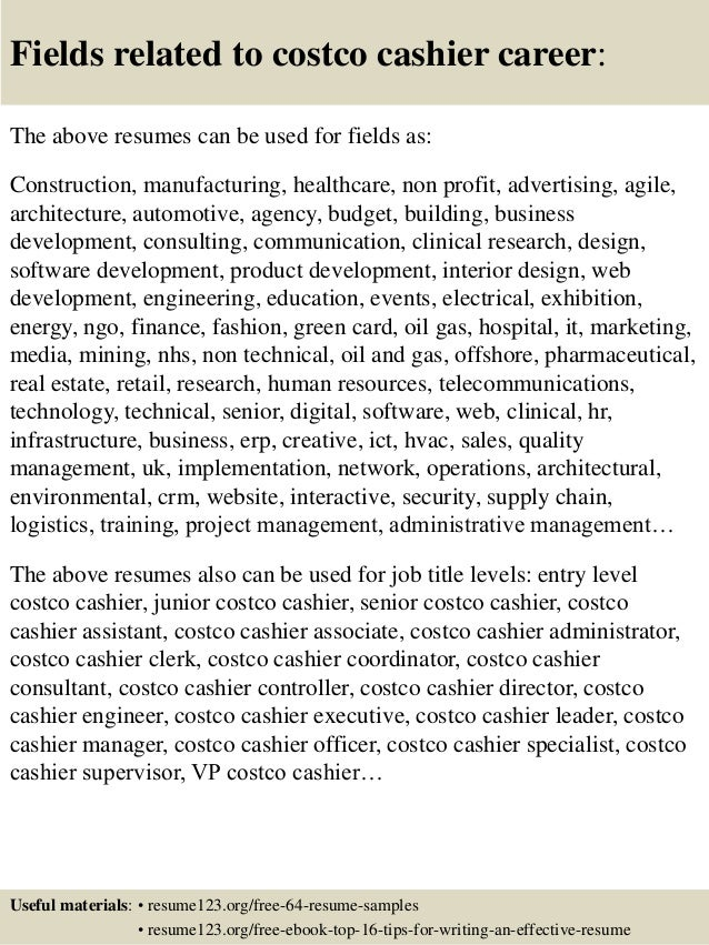 Top 8 Costco Cashier Resume Samples