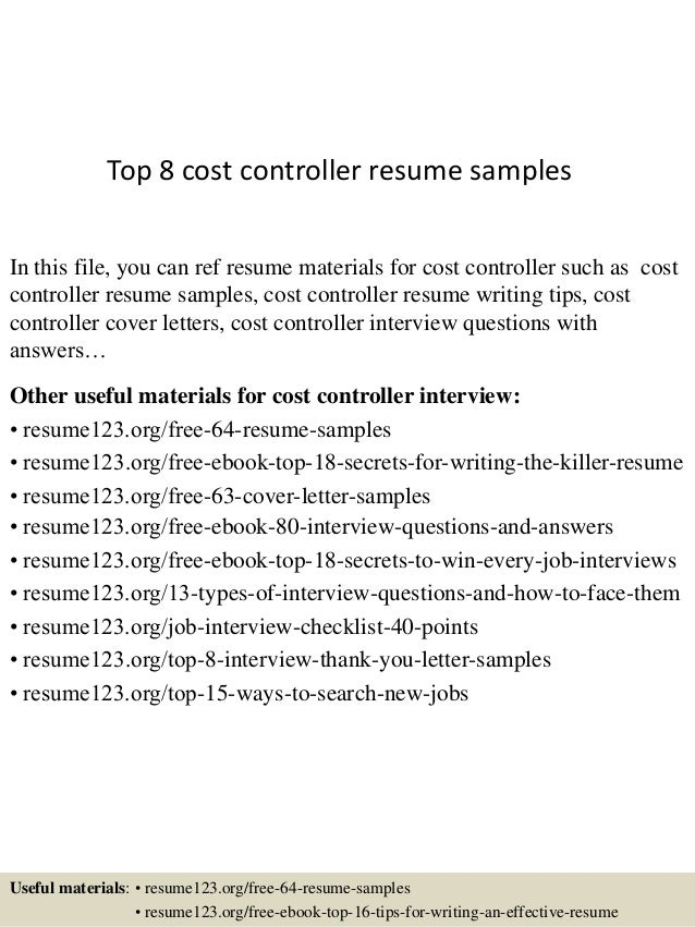 Top 8 Cost Controller Resume Samples In This File, You Can Ref Resume  Materials For ...