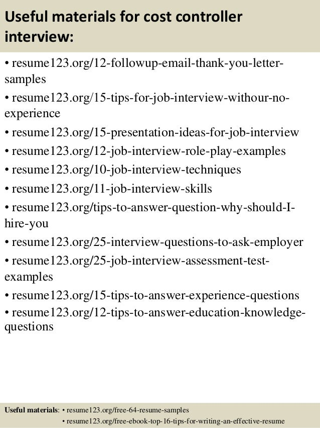 Top 8 cost controller resume samples