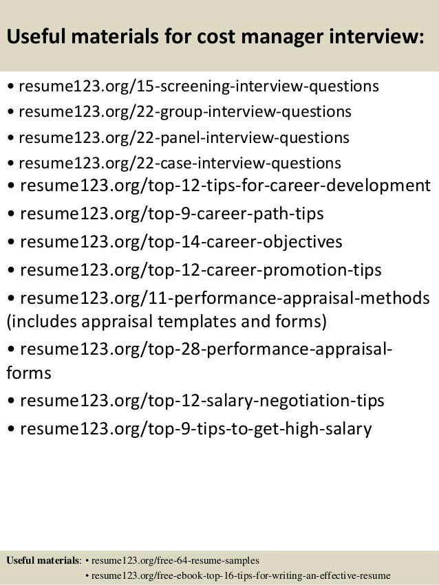 top 8 cost manager resume samples
