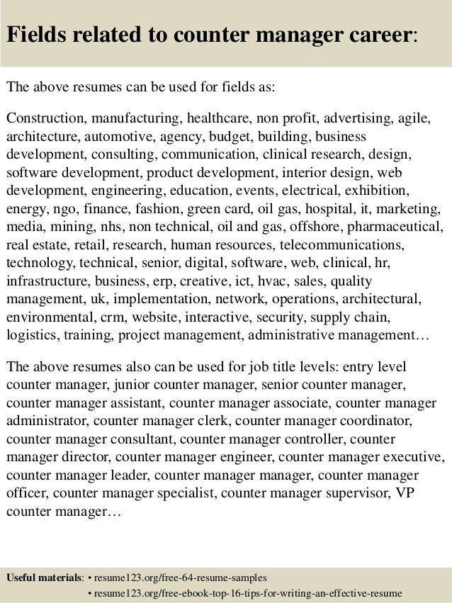 beauty counter manager cover letter