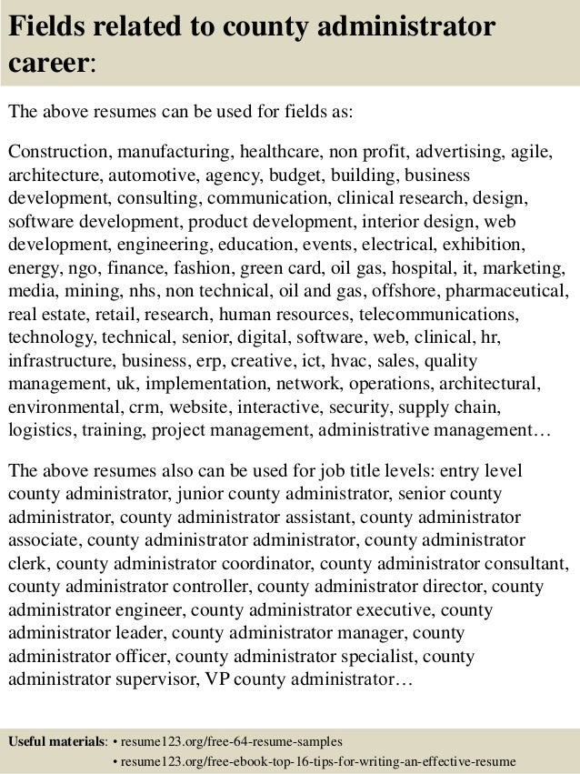 Top 8 county administrator resume samples