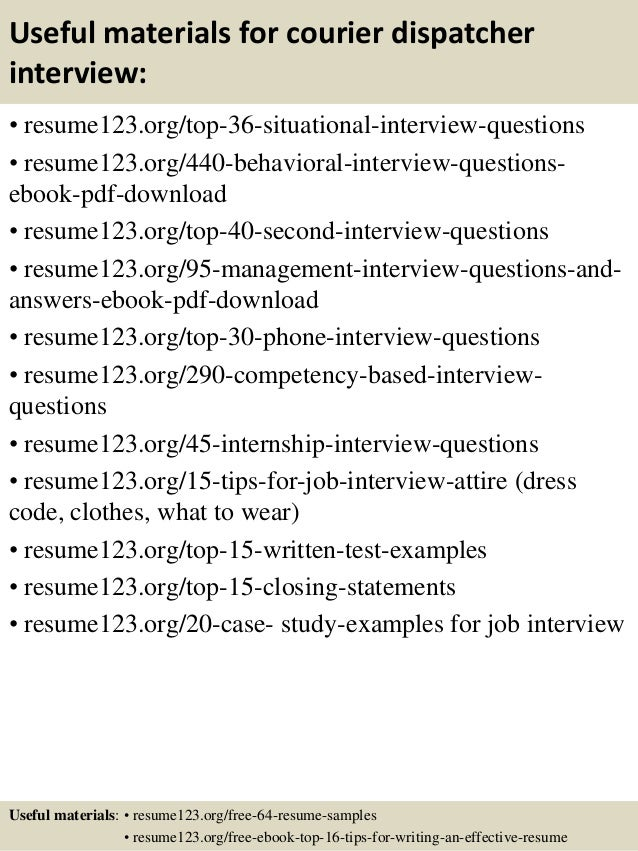 Top 8 courier dispatcher resume samples