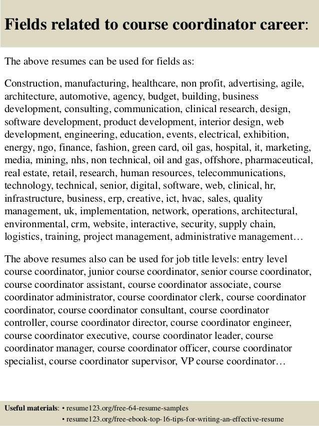 top 8 course coordinator resume samples