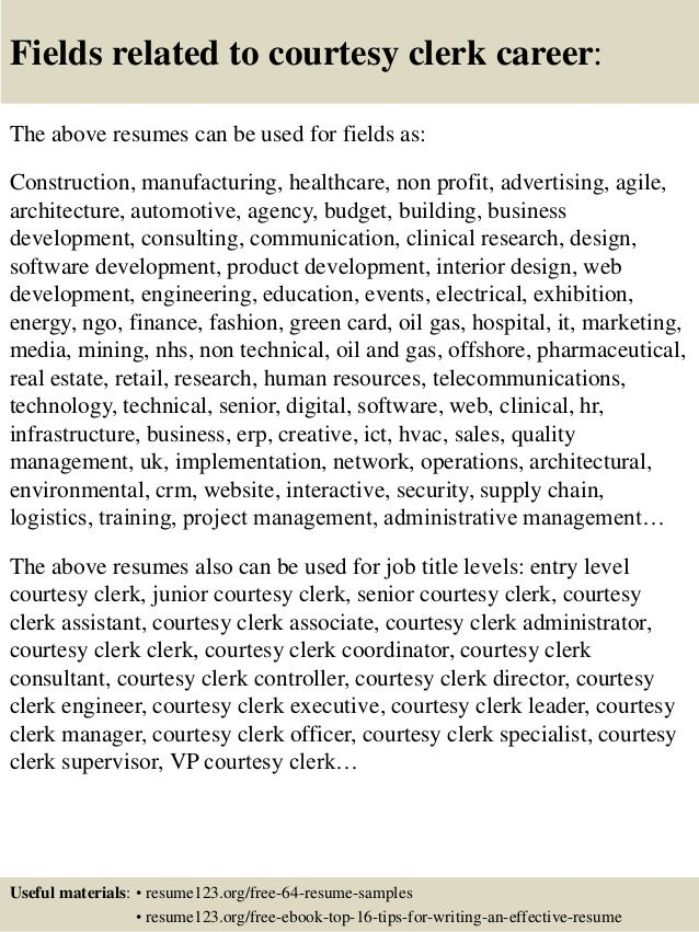 16 Fields Related To Courtesy Clerk
