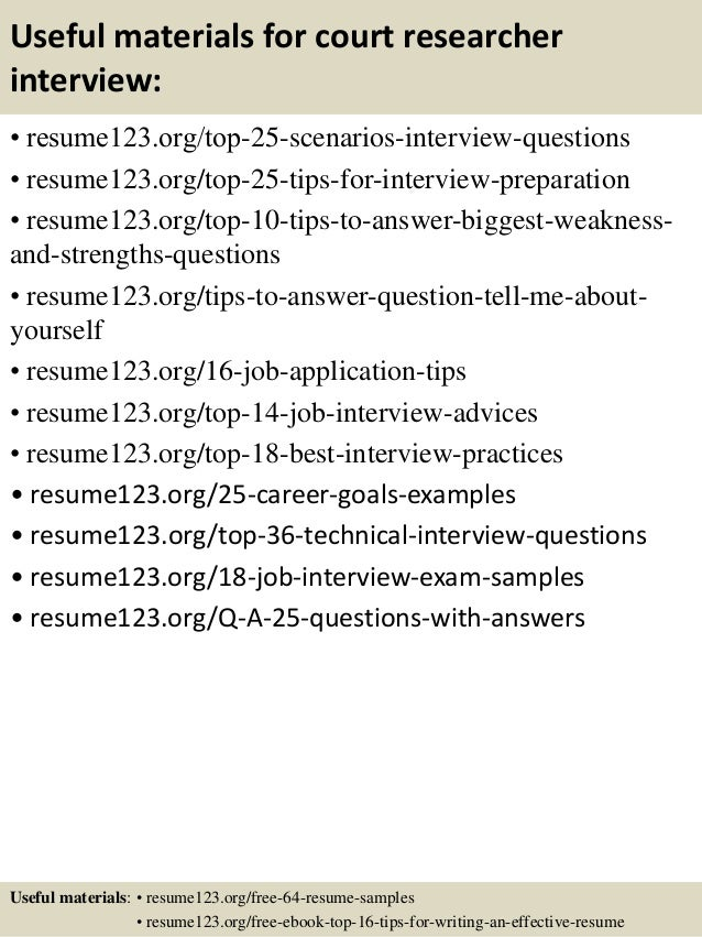 Top 8 court researcher resume samples – Researcher Resume Sample