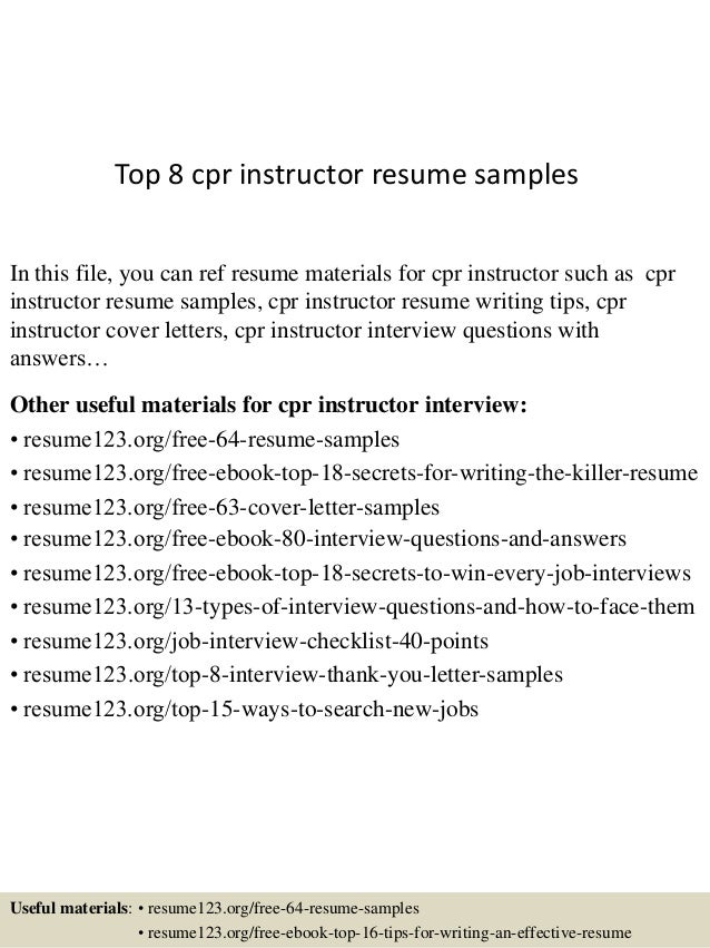 Top 8 Cpr Instructor Resume Samples In This File, You Can Ref Resume  Materials For ...