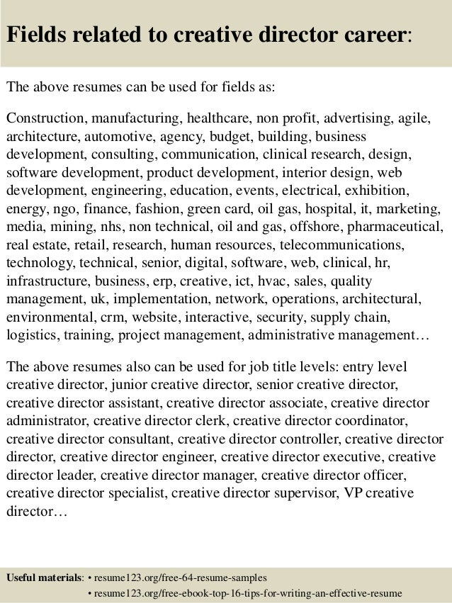 16 fields related to creative director - Creative Director Resume Sample