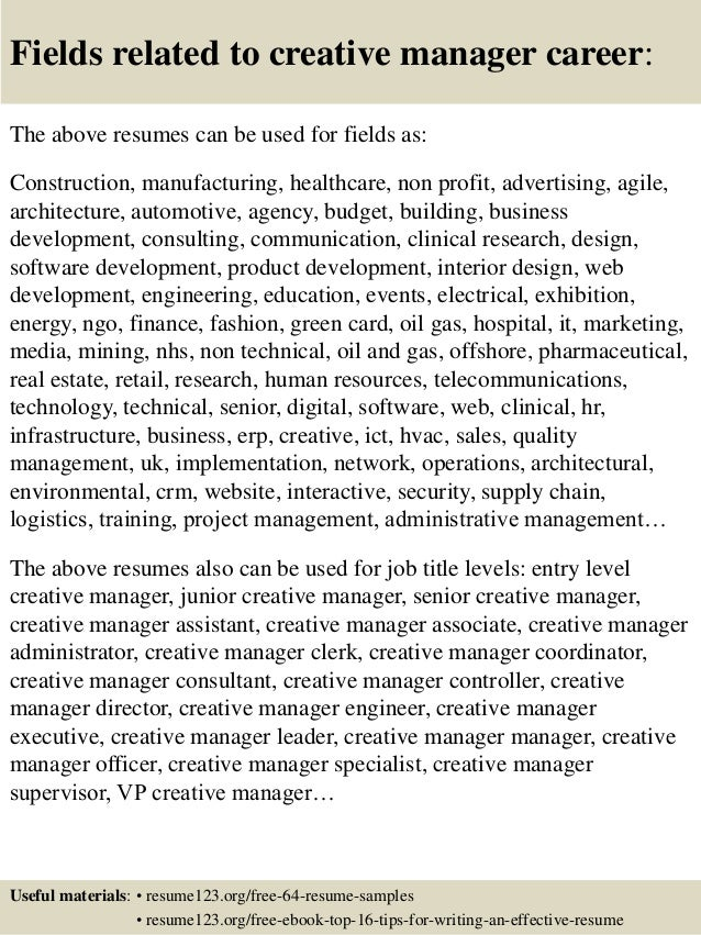 ... 16. Fields Related To Creative Manager ...  Creative Director Resume Samples