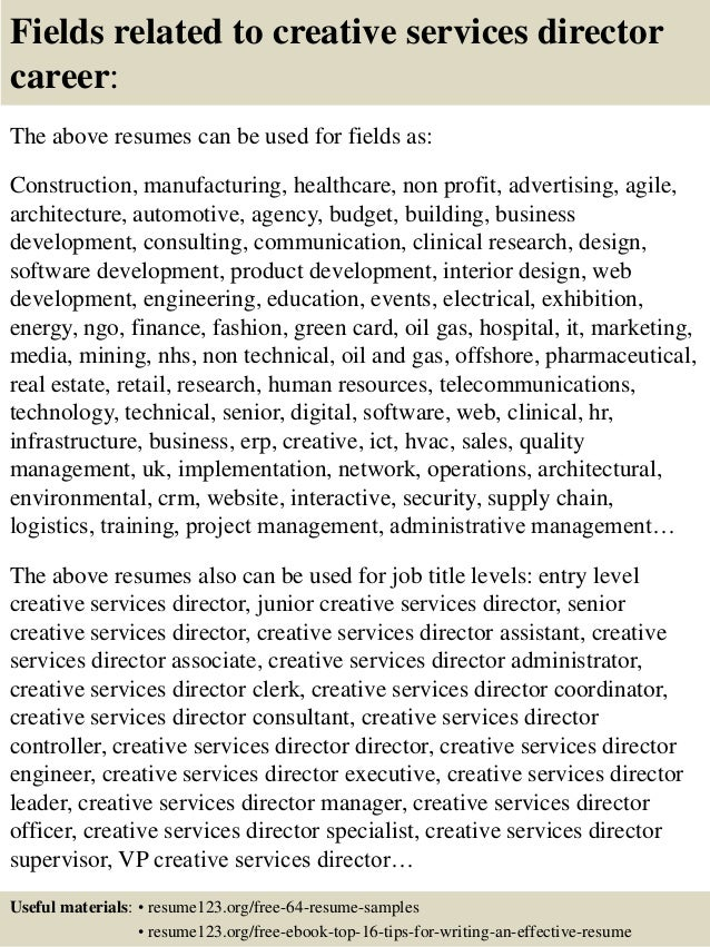 Top 8 creative services director resume samples